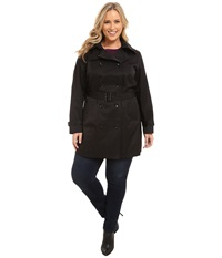 Michael Michael Kors Plus Size Double Breasted Trench Black Women's Coat