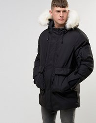 Bellfield Faux Fur Trim Parka Black