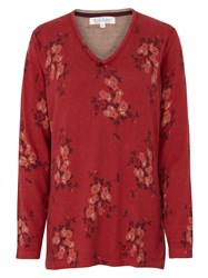 Tulchan Simple Floral Tunic Jumper Red