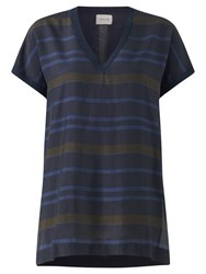 Jigsaw Fabric Front Tunic Top Navy