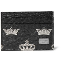 Dolce And Gabbana Crown Print Pebble Grain Leather Cardholder Black