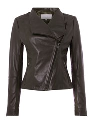 Gray And Willow Finn Funnel Neck Waterfall Leather Jacket Mink