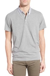 Peter Werth 'Drift' Trim Fit Contrast Collar Polo Gray