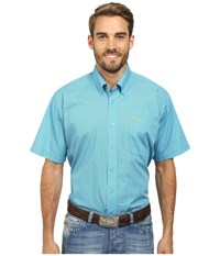 Cinch Short Sleeve Plain Weave Print Shirt Blue Men's Short Sleeve Button Up