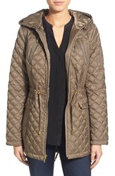 Women's Laundry By Shelli Segal Quilted Jacket With Hooded Inset Green Olive