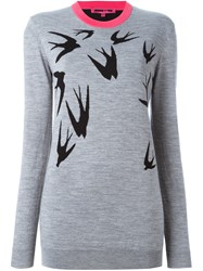 Mcq By Alexander Mcqueen Swallow Intarsia Jumper Grey