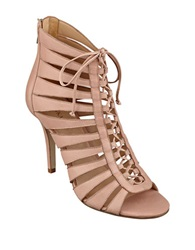Ivanka Trump Mackley Caged High Heel Leather Booties Blush