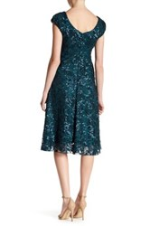 Eva Franco Embroidered Floral Print Dress Blue