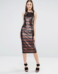 Lavish Alice Muted Sequin Stripe High Neck Column Midi Dress Black