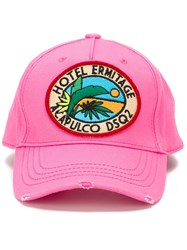 Dsquared2 Logo Patch Baseball Cap Pink And Purple