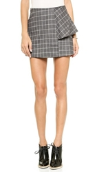 J.O.A. Structured Skirt In Checks Charcoal