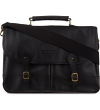 Barbour Alinine Leather Briefcase Black