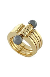 Louise Et Cie Faux Pearl Stacked Ring Gold Grey Pearl