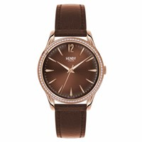 Henry London 39Mm Unisex Harrow Watch With Stone Set Bezel Rose Gold Brown