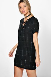 Boohoo Checked Lace Up Eyelet Shift Dress Black