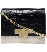 Kurt Geiger Annie Textured Leather Cross Body Bag Blk Beige