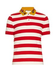 Gucci Snake Applique Cotton Polo Shirt Red Multi