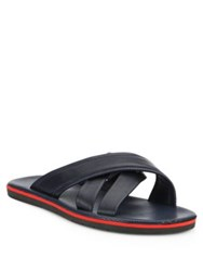 Saks Fifth Avenue Cross Strap Leather Sandals Navy