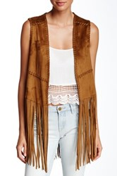 Blanknyc Denim Friday Fever Fringe Vest Brown