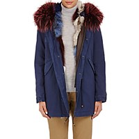 Mr And Mrs Italy Women's Canvas Fur Trimmed Mini Parka Blue Navy Blue Navy