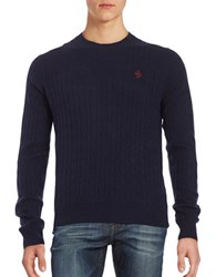 Brooks Brothers Cable Knit Wool Sweater Navy