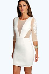 Boohoo Pam Panelled Mesh Bodycon Dress Ivory