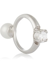 Maison Martin Margiela Rhodium Plated Faux Pearl And Cubic Zirconia Ring Metallic
