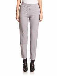 St. John Cropped Wool Flannel Pants Light Grey