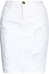 Current Elliott The Stiletto Distressed Stretch Denim Skirt White