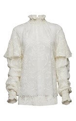 Magda Butrym Ruffle Neck Long Sleeve Lace Blouse White