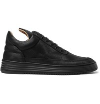 Filling Pieces Monotone Embossed Leather Sneakers Black