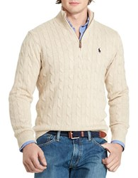Polo Ralph Lauren Cable Knit Mockneck Sweater Oatmeal Heather