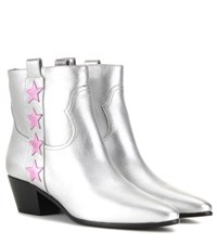Saint Laurent Rock 40 Star Metallic Leather Boots Silver