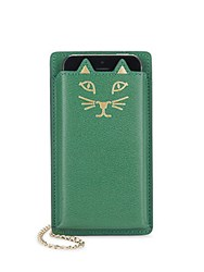 Charlotte Olympia Feline Iphone 5 Leather Case Green