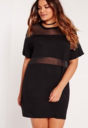 Missguided Plus Size Mesh Insert Oversize Dress Black Black