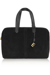 Elizabeth And James Scott Leather Trimmed Suede Duffle Bag Black
