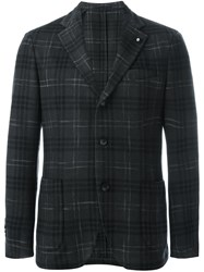 Lardini Plaid Single Breasted Blazer Grey