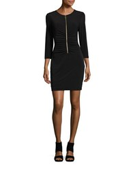Jessica Simpson Ruched Zip Front Sheath Dress Black