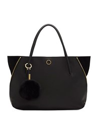 Louise Et Cie Elin Leather And Real Rabbit Fur Tote Black