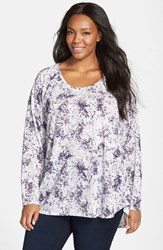 Plus Size Women's Sejour Print Scoop Neck High Low Tee