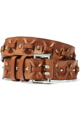 Emilio Pucci Cutout Leather Belt Tan