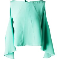 Leka Mint Open Back And Shoulder Silk Blouse Green