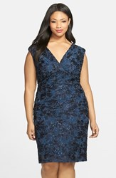 Plus Size Women's Marina Soutache Embroidered Lace Dress Navy