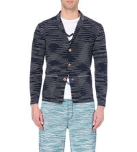 Missoni Striped Knitted Jacket Navy