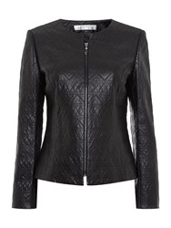 Tahari By Arthur S. Levine Faux Leather Quilted Jacket Black