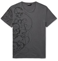 Alexander Mcqueen Slim Fit Skull Print Cotton Jersey T Shirt Dark Gray