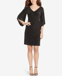 American Living Metallic Jacquard Dress Black Silver