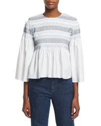 See By Chloe 3 4 Sleeve Embroidered Peplum Top White