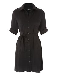 Jane Norman Black Short Utility Shirt Dress