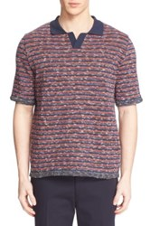 Umit Benan 'Dytona' Stripe Knit Polo Red